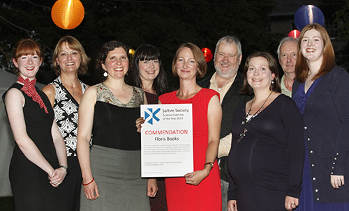 Many of the Floris Team celebrate Saltire Society Scottish Publisher of the Year 2013 Commendation
