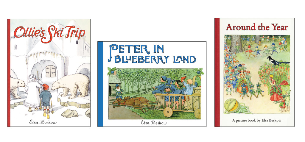 Three of Elsa's best-loved books; 'Ollie's Ski Trip', 'Peter in Blueberry Land' and 'Around the Year'