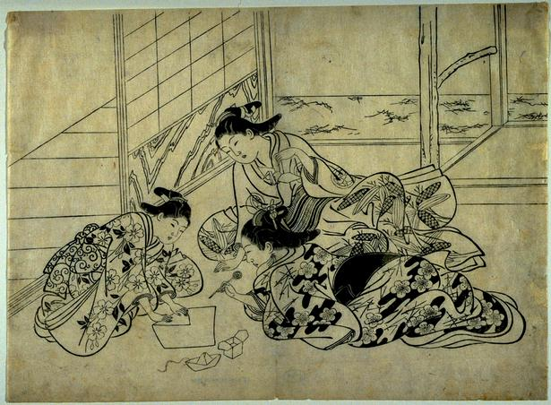 This traditional woodcut shows geisha folding paper boxes, boats and cranes