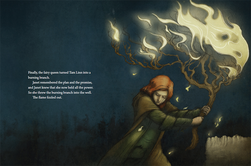 This full spread illustration from 'The Tale of Tam Linn' focuses on a pivotal moment in the story.