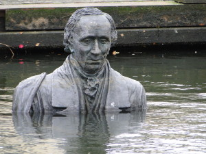 Hans Christian Andersen statue in Odense harbour