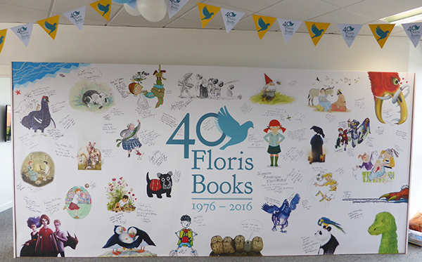 The Great Wall of Floris Books in all its glory, looking wonderful with the additions from all of our fabulous guests!