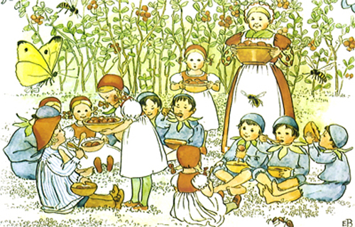 Illustration from Swedish children's book, Elsa Beskow, Peter in Blueberry Land
