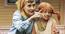 Photograph of Astrid Lindgren, author of Swedish children's books, with Pippi Longstocking actor Inger Nilsson