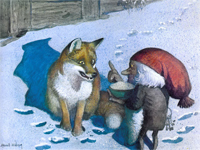 Illustration by Harald Wiberg from Astrid Lindgren, The Tomten and the Fox