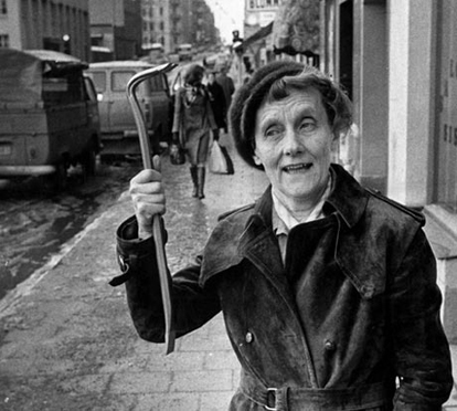 Photograph of Astrid Lindgren, author of Swedish children's books, after taxation protest