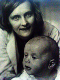 Photograph of Astrid Lindgren, author of Swedish children's books, with daughter Karin
