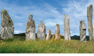 Illustration of standing stones from Symbols of Eternity by Malcolm Stewart