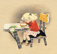 Illustration from Goldilocks and the Three Bears by Gerda Muller